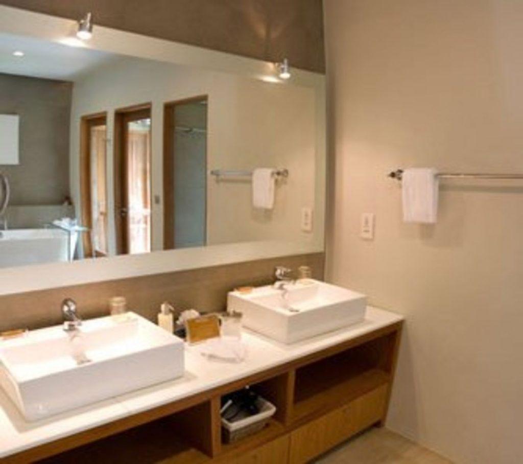 Mirror Behind Square Sinks
