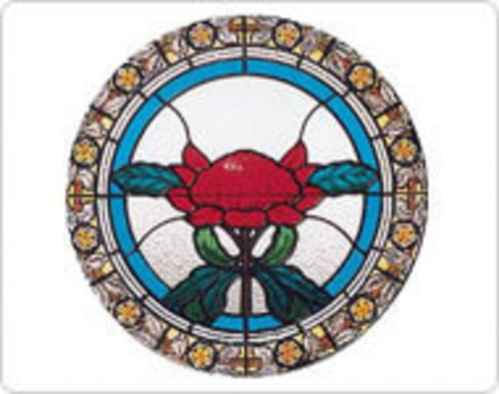 Textured Stained Glass Circular with Flower Image